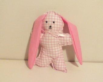 "Pink gingham blanket fabric ""Bunny"""