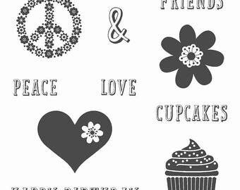 Stampin UP Peace, Love & Cupcakes Rubber Stamp Set