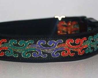 """Dog Collar Jacquard Ribbon Elegant """"Ornament""""  Design"""