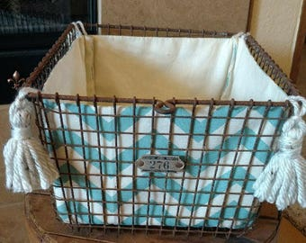 Vintage Wire Gym Locker Basket with Custom removable Chevron Tasseled Insert