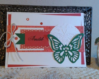 Red and green friendship card Butterfly