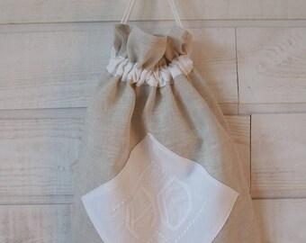 Lingerie bag / pouch (No. 159) linen & white