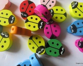bag of 8 ladybugs painted wood beads