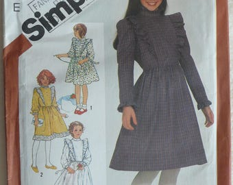 Girl's Dress Pattern - Vintage Simplicity 5772 - Size 8