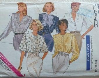 Women's Blouse Pattern - Vintage Butterick 5780, Multiple Styles