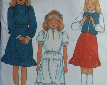 Girls Vest, Blouse and Skirt Pattern - Vintage McCalls 7863 - Size 7