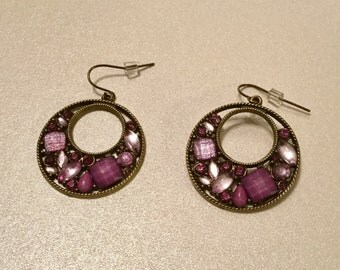 Purple Jewel Hoop Earrings