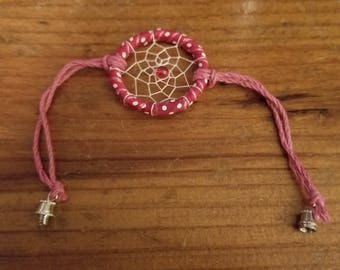 Handmade pink and white dream catcher bracelet