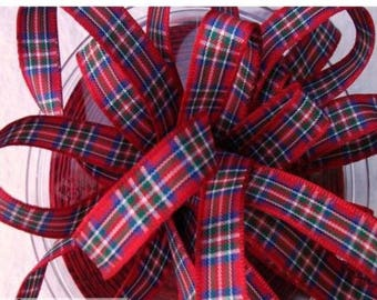 plaid fabric Ribbon code 1052 ROYAL Red 7 mm