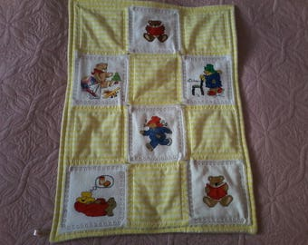 Doubled bears patchwork blanket