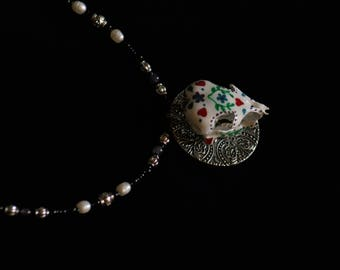 Day of the Dead Skull Pendant and Beaded Necklace