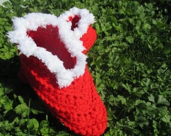 Night crochet booties or slippers 32/33/34 red and white interior