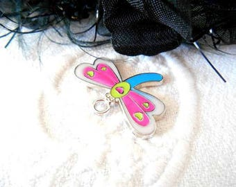 x 1 Dragonfly pendant charm pink enameled metal 24 mm.