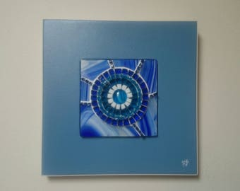 """Iceberg"" blue millefiori glass mosaic table"