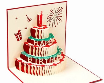 Handmade 3D pop up popup card Happy birthday cake for birthday girl, boy, him, her.friends,family partner colleagues firework candle flower