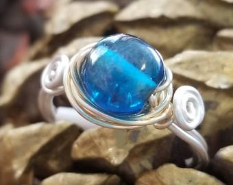 Blue glass wrapped ring hand wrapped silver& gold