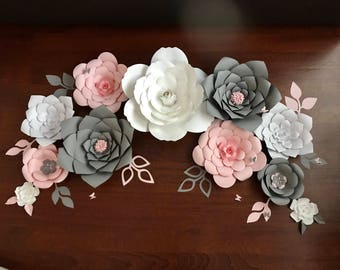 Paper flowers pink grey gold nursery birthday backdrop decor party wall