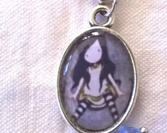 Silver bracelet cabochon mascot legs with his symbol, her striped tights