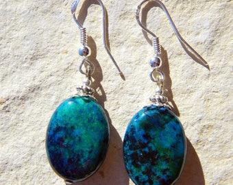 AZURITE BLUE GREEN OVAL STONE 925 SILVER EARRINGS