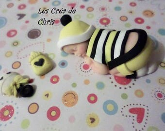 baby boy grenoulliere t-shirt striped polymer clay.
