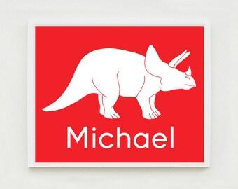Personalized Dinosaur Nursery Art Print, Kids Wall Art, Triceratops, Custom Name Poster, Baby Shower Decor, Choose Your Custom Color