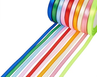 1 set of Satin Ribbon colors mixed 6mm for DIY jewelry