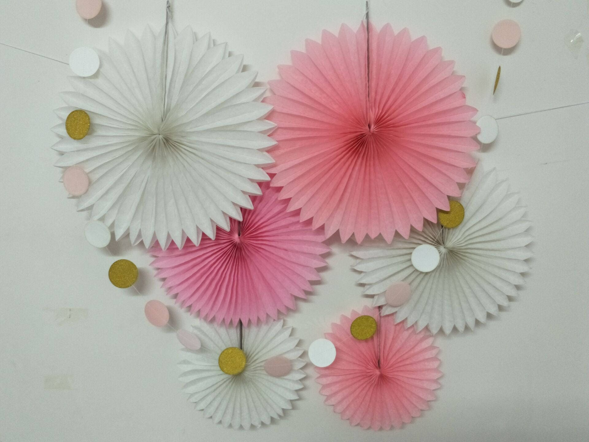 7 Pcs Baby Shower Girl Birthday Decorations Tissue Paper Fan Paper