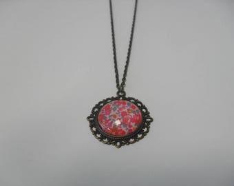 Bronze, cabochon pendant necklace
