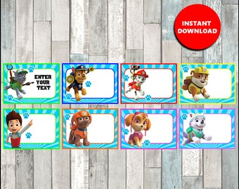 50% OFF Paw Patrol Printable Cards, tags, book labels, stickers, kids cards, gift tags, labeling, scrapbooking - type your own text