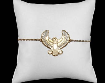 Falcon plated white enameled bracelet