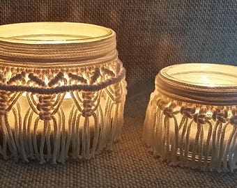 Set 2 lanterns in Macrame-candle holder,, weddings, decorations, home décor, creamy white