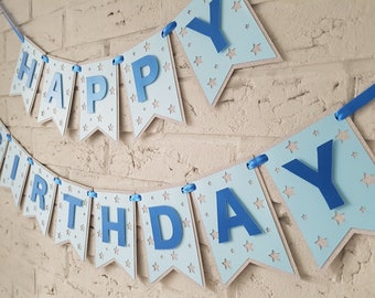 Happy birthday banner. Boy birthday banner. Boy birthday decoration. Personalised Banner. Custom banner. Blue and silver.