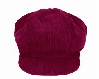 Burgundy corduroy toddler newsboy cap