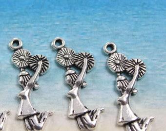 5 silver metal cheerleader charms