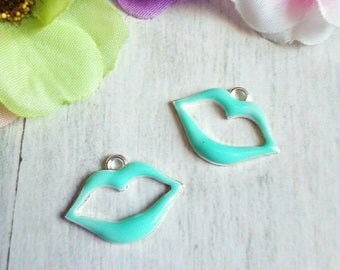2 charms in silver and enamel turquoise mouth shape