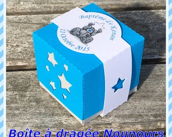 Teddy Me to You boy baptism favors box