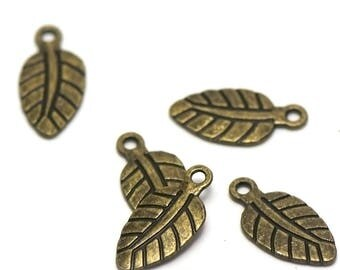 "20 charms ""leaf"", 20 x 10 mm, bronze"