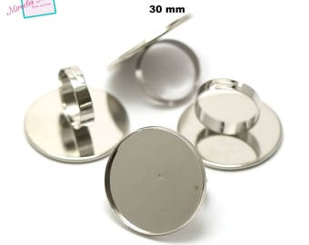 4 cabochons 30 mm, round ring silver support