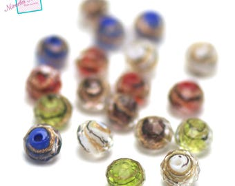 "20 ""wave"" variegated color faceted rondelle Lampwork beads"