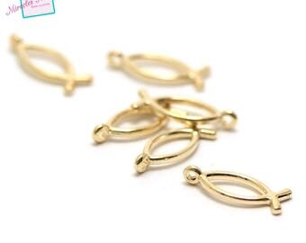 "20 charms ""fish"" 20 x 8 mm Golden 001"