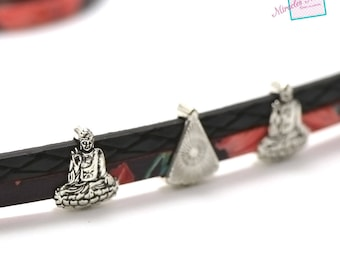 """10 pearls passing/slides for strap leather """"027 Buddha"""" 16 x 13 x 5 mm"""