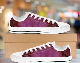 Women's Low Top Sneakers Shoes - Mandala Peace Design (Red Pink)
