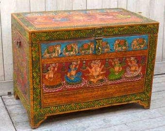 Colourful Big Hand Painted Trunk from Rajasthan, India