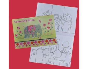 Livre de coloriages grand format couverture India / Les dessins à colorier sont sur différents thèmes dont l'inde, les animaux...