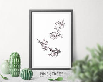 Cherry Blossom Flowers printable wall art for home and office - instant download you can print in any size