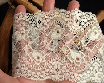 "Antique Ecru French lace braid ""Leavers"" VINTAGE"