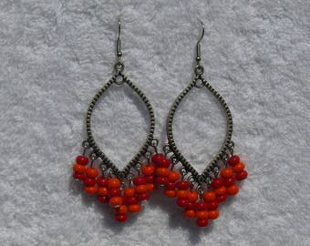 single earring with colorful beads and