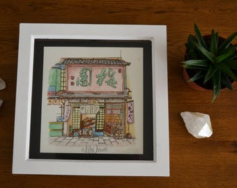Japanese Painting | Watercolor painting | Japanese House | Home decor | Wall decor | Asian | Oriental design