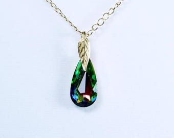 "Luminous Moondrop Swarovski Faceted Crystal in Multi-Color form with 20"" 14K Gold Cable Chain and Magnetic or Lobster Clasp"