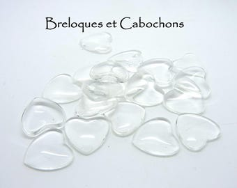 1 cabochon clear glass 18 x 18 mm heart